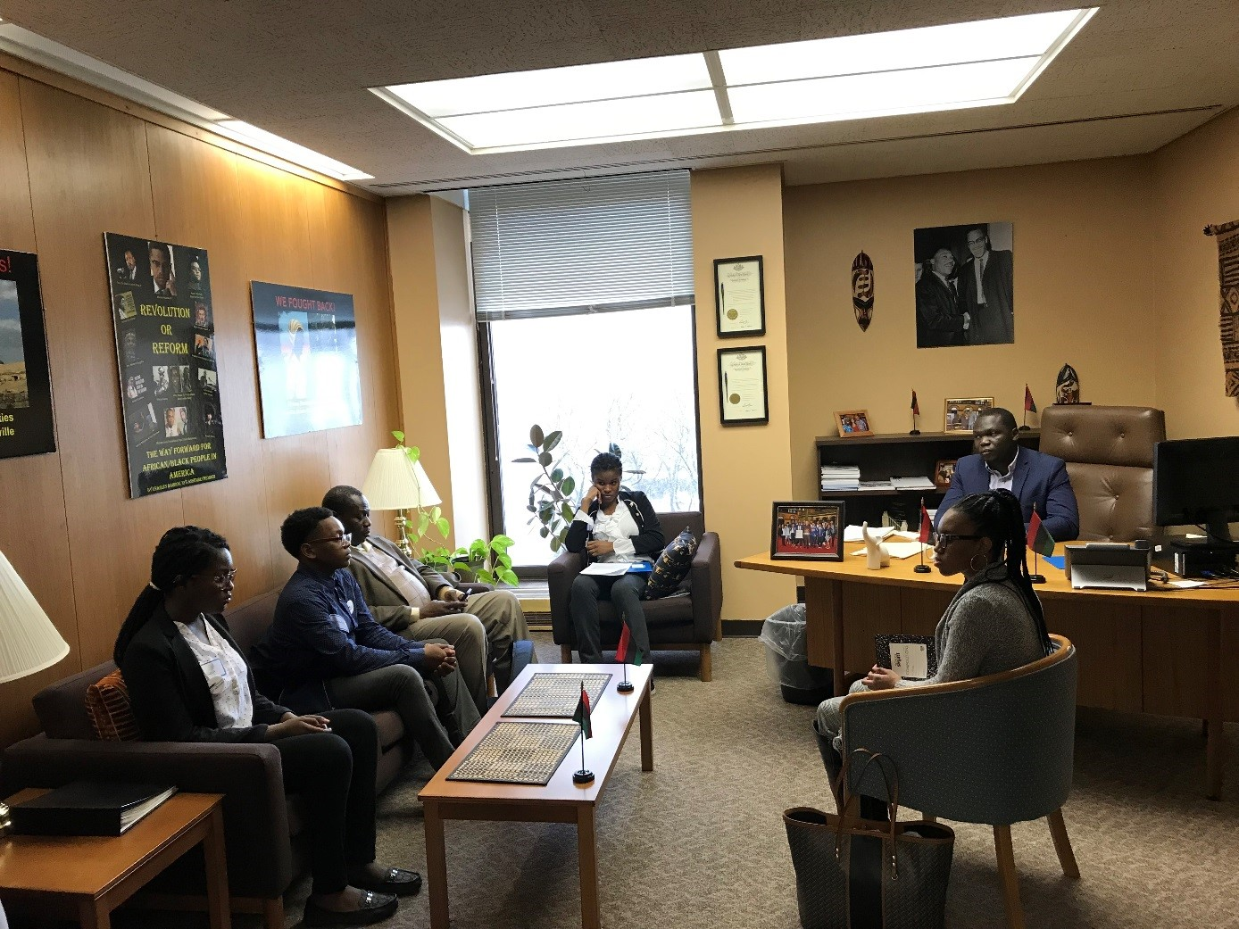 Students from Clara Barton High School for Health Professionals met with a staff member from Assemblyman Charles Barron's office to support efforts around AP credit.