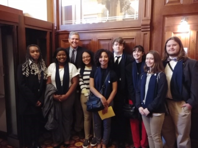 Rep. Bruce Williamson met with students from Monroe Area High School