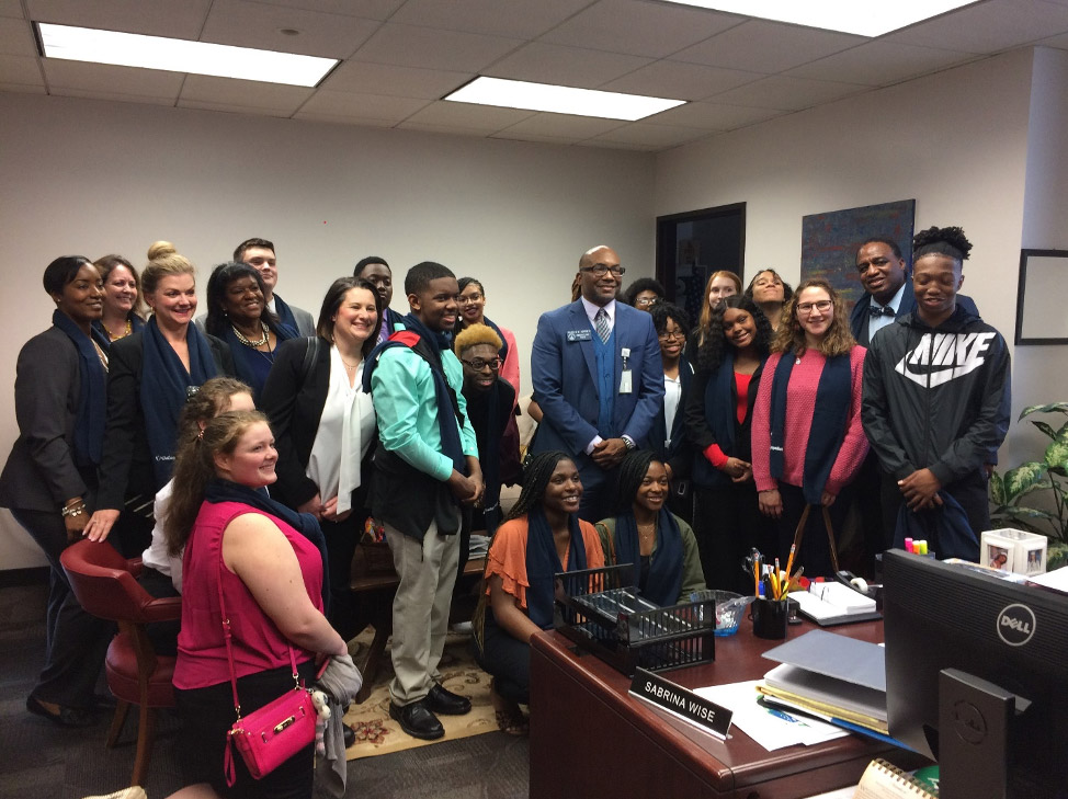 Sen. Harold V. Jones II held a meeting with students from Cross Creek High School