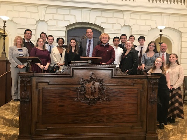 Students from Ayer-Shirley joined Sen. James Eldridge in the Senate Chamber